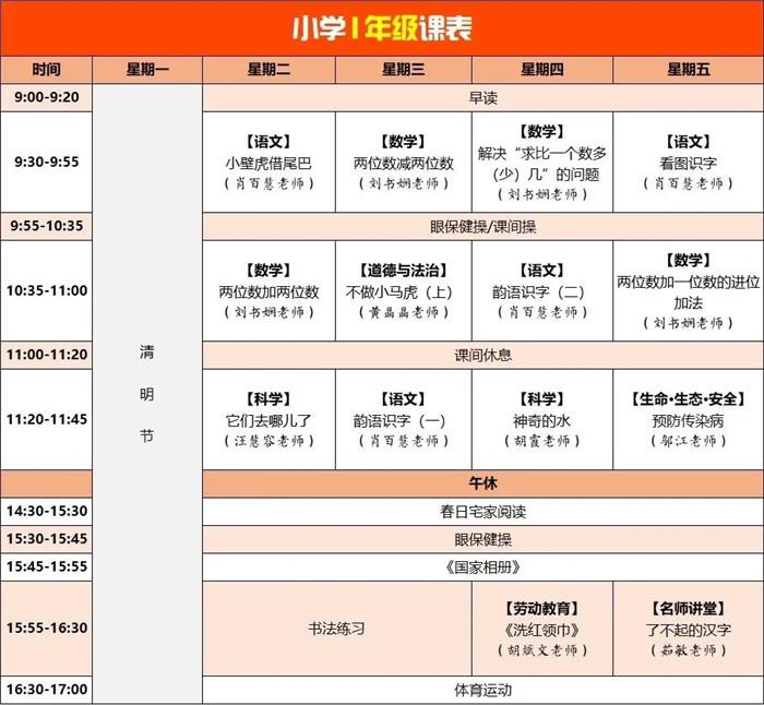 速收藏!四川云教电视课堂线上教学第五周课表